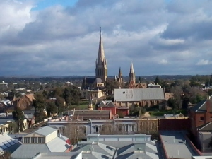 Sacred Heart Cathedral from the poppet lookout tower in Rosalind Park, Bendigo.