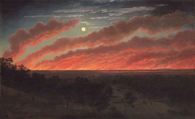 von Guerard's stunning depiction of an 1857 bushfire near Timboon, Victoria.