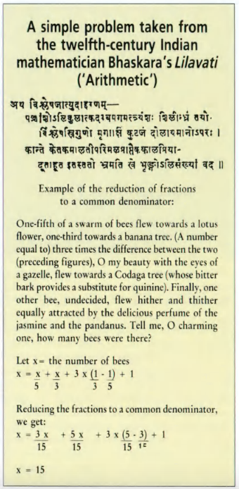 A translated example from Lilavati (Source: A Mathematical Mystery Tour, UNESCO Courier, 1989)
